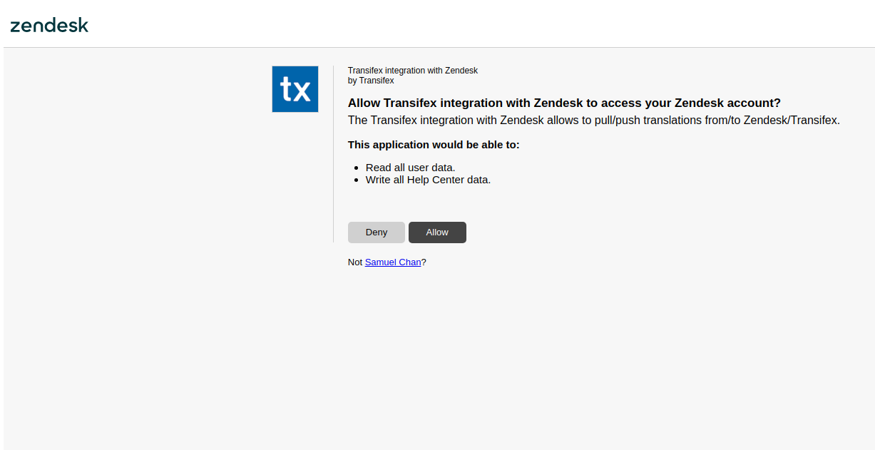 Allow access to Zendesk